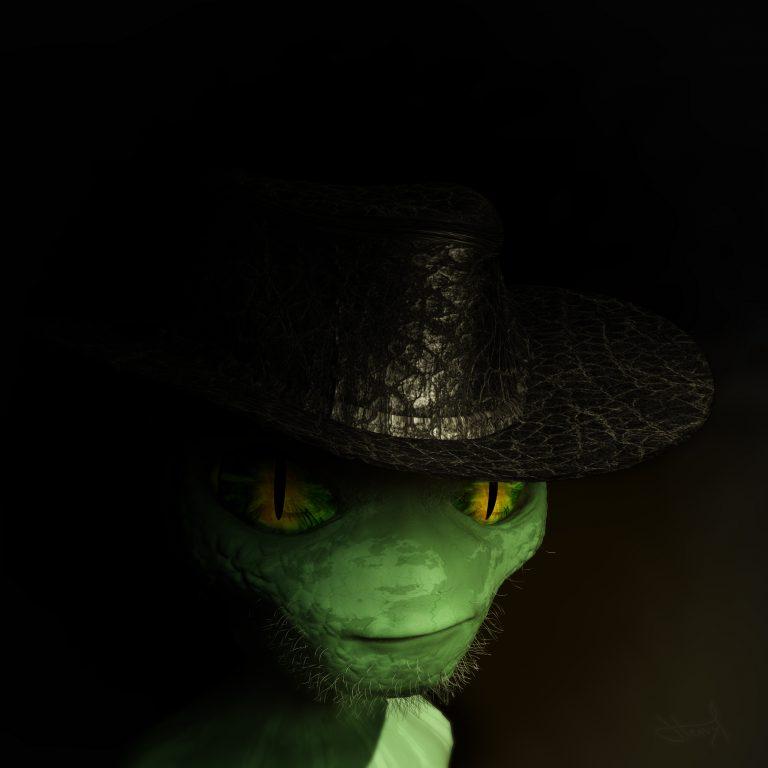 Modélisation de Personnage 3d - Komodo le Lézard Cowboy