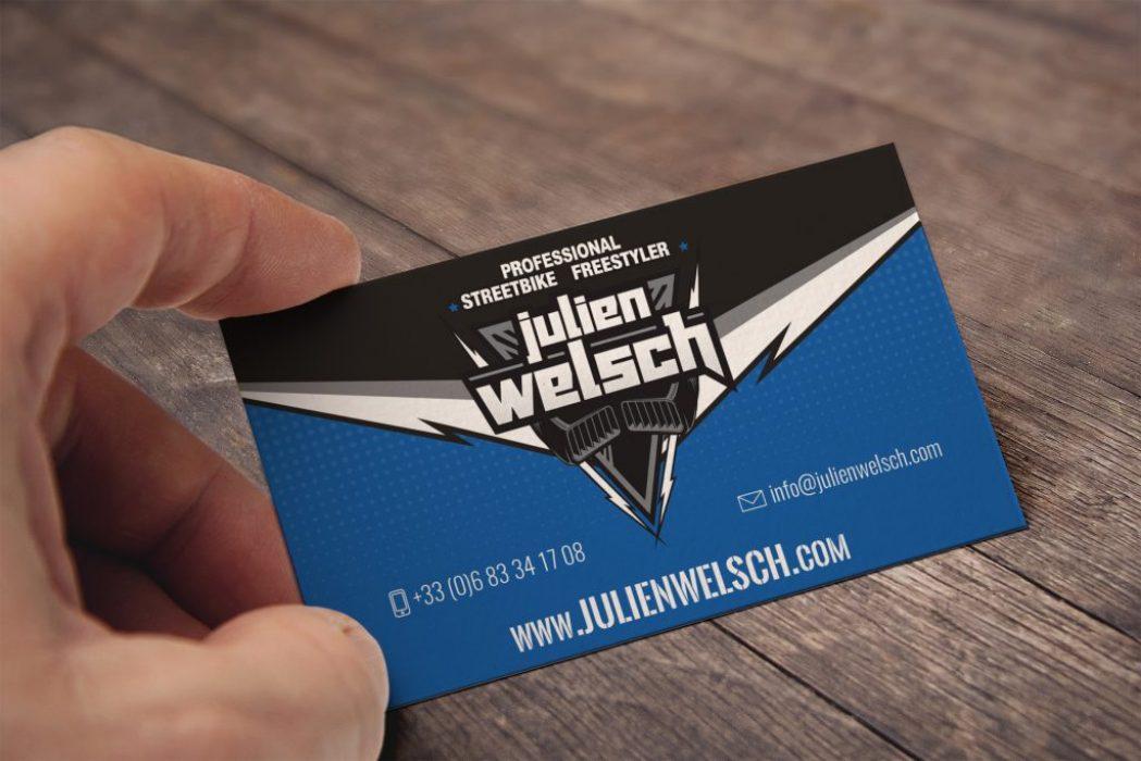 Carte de visite pour Julien Welsch - Sportif professionnel Stuntrider Moto