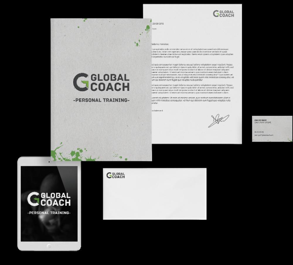Identité Visuelle Coach Sportif - Logo, Carte de Visite, Flyers, Site Internet (gauche)