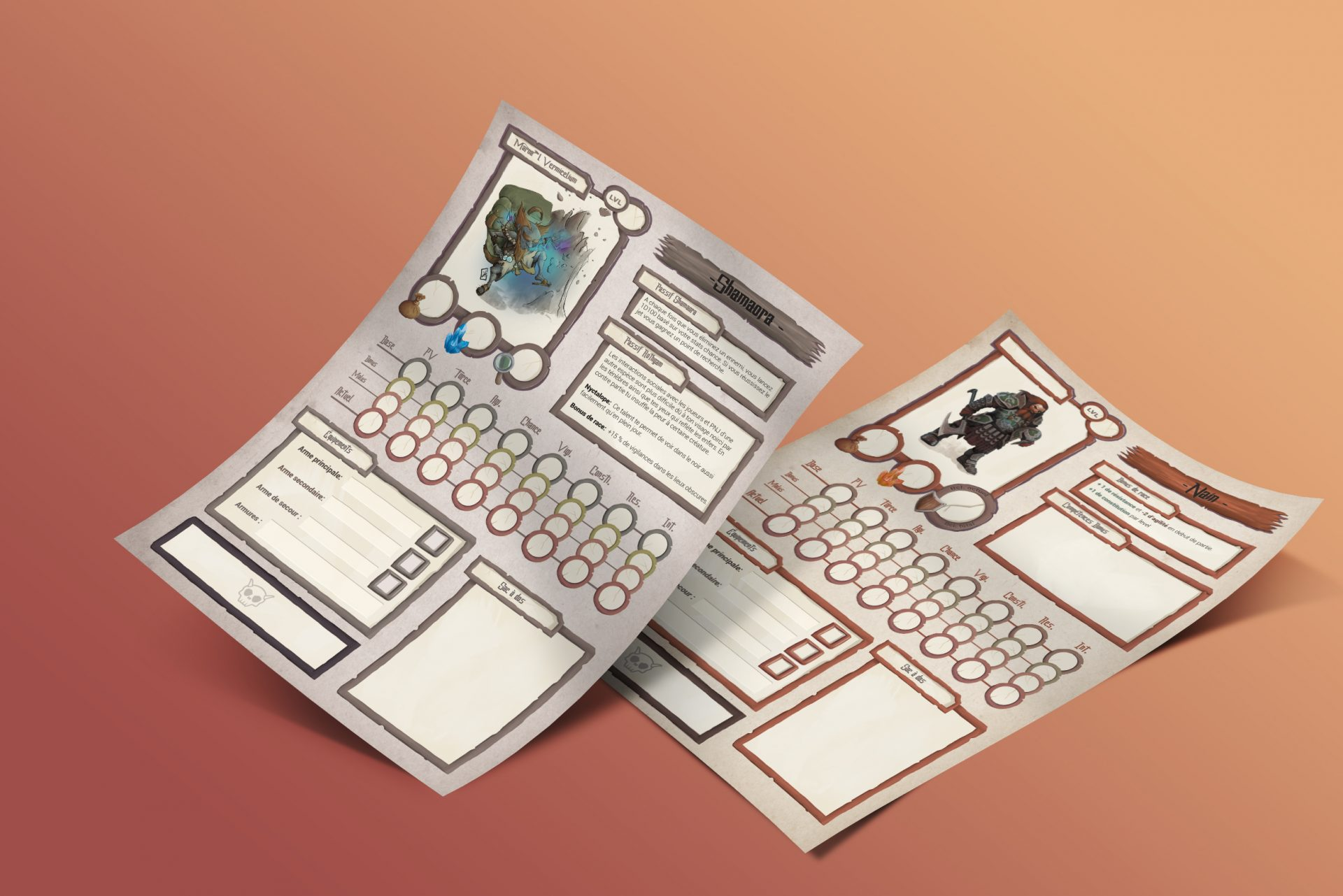 Design graphique: fiche personnage pour un jeu de role