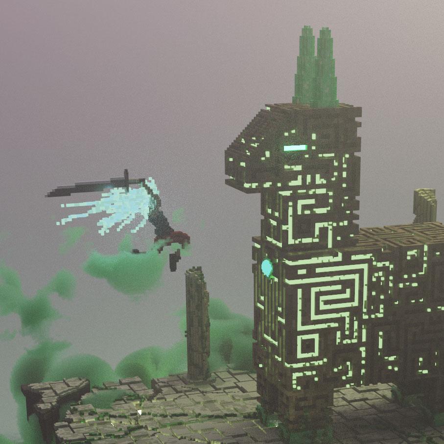Un detail d'une oeuvre d'art en voxel art créer par moi-même et représentant un guerrier combattant une piñata de pierre géante